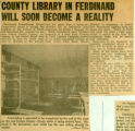 County Library in Ferdinand Will Soon Become a Reality