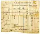 A.E. Burkhardt & Co. Furs and Raw Skins Receipt c1870