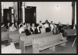 Congregation seated in pews at the First Baptist Church, Pierceton, Ind., ca. 1988