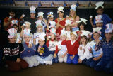 Pierceton Elementary School students wearing paper hats, 1989