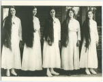 Eberly girls with long hair, ca. 1916