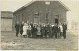 Students in front of Kinsey School, Cleveland Township, Whitley County, Ind., ca. 1917