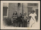 Snapshot of elementary students in front of Pierceton School, Pierceton, Ind., ca. 1945