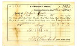 Tax Receipt for Joshua Hoover for Land and Corporation for 1868