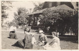 Ladies in the yard at Limberlost Cabin