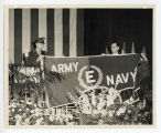 "Presentation of the Army-Navy ""E"" award flag"