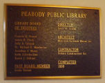 Peabody Public Library Dedication plaque