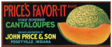 Label for Price's Favor-It brand vine ripened cantaloupes