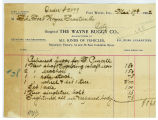 Invoice to the Fort Wayne Traction Company 17 March 1902