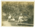 Billy, Ruth, and Ethel Hoops Canoeing in the Wawasee Channel