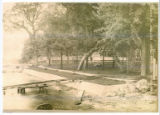 Lawn and Boat Launch at Linger Lodge postcard, 1920