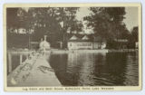 Log Cabin and Bath House at Buttermilk Point postcard