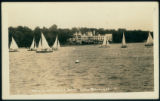 Postcard of Sailboats in Front of Spink Wawasee Hotel