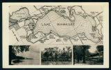 Postcard with Map of Significant Sites Around Lake Wawasee