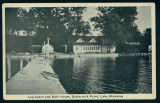 Postcard of the Log Cabin and Bath House at Buttermilk Point