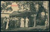 Group of People at the Log Cabin on Buttermilk Point at Lake Wawasee