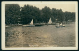 Sailboats on Lake Wawasee in Front of Sargent's Hotel