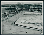 Aerial Photograph of Ice Fishing on Johnson's Bay, 1942