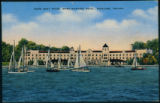 Postcard of Snipe Boat Races in Front of the Spink Wawasee Hotel