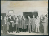 Group of men outside the employment office