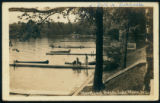 Piers and Canoes At Waveland Beach on Lake Wawasee