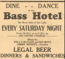Advertisement for Dancing and Dining at the Bass Hotel.
