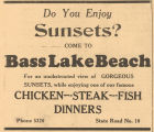 Advertisement for Sunsets on Bass Lake Beach