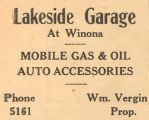 Lakeside Garage in Winona Advertisement