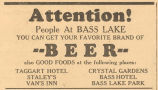 Where to buy beer and good food at Bass Lake Advertisement