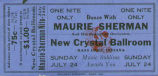 Ticket to Maurie Sherman Night at the Crystal Ball Room on Bass Lake