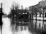 Flooded street with children in a canoe,  Evansville, IN, 1937