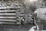 Harry Filton and Cedric Errol Fauntleroy on top of a crib at the new dam on the Wabash River, New...