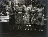 Group of five girls in North yard of old Fauntleroy home, New Harmony, IN