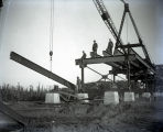 Harmony Way Bridge construction placing a beam on the Illinois side, White County, IL