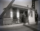 Harmony Way Bridge toll house showing Mose Day and Walter B. Wease, New Harmony, IN