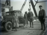 Harmony Way Bridge toll collector, Mose Day, and A. L. Hart with his wife and daughter, New...