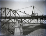 Harmony Way Bridge construction showing traveling crane before going through span, New Harmony, IN