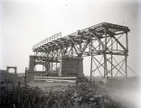 Harmony Way Bridge construction showing steel from pier A back to approach, New Harmony, IN