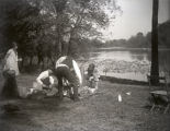 Helen Ribeyre, Tom Alexander and Neva Glump on a picnic at Foots Pond, New Harmony, IN