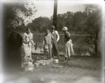 Ina Bailey, Herb Johnson, Nora Lichtenberger, and Neva Glump on a picnic at Foots Pond, New...