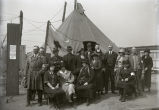 Cyclone Red Cross workers in front of tent, Griffin, IN