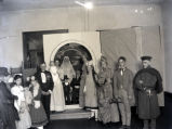 Young people in costume at schoolhouse, New Harmony, IN