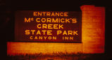 Nighttime entrance sign