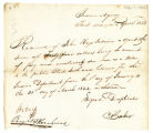 Receipt for pay, C. Baker to John Hays, 1822 April 1
