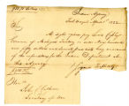 Letter, Unknown, Fort Wayne (Ind.), to John C. Calhoun, 1822 April 1