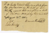 Note, Daniel French to John Crawford, 1818 August 31