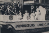 Brownsburg Centennial Pageant Parade (August, 1948): Brownsburg Lions Club float.