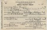 Burial permit Brewer, Elina